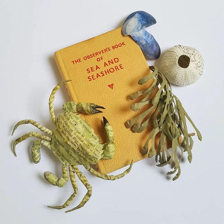 Sea Creatures Altered Book Sculpture