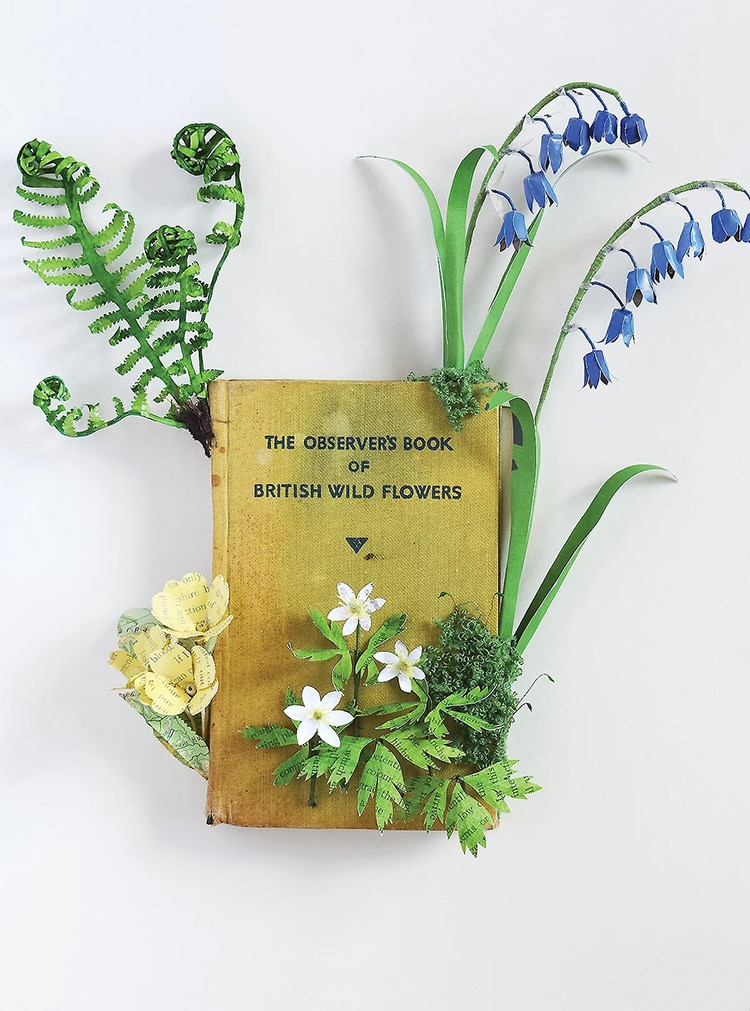 Wildflowers Altered Book Sculpture