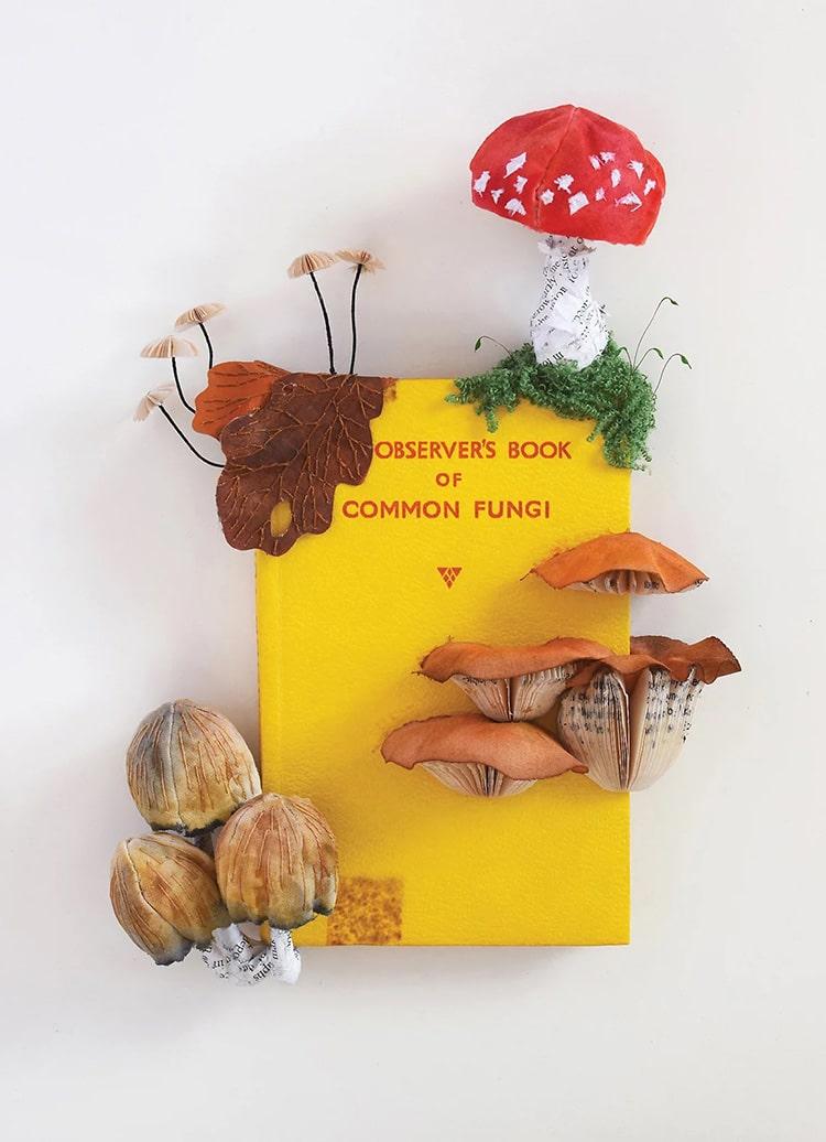 Mushrooms and Fungi Altered Book Sculpture