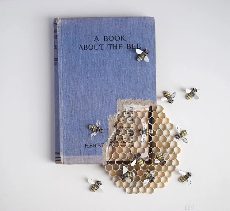 Honey Bee Altered Book Sculpture