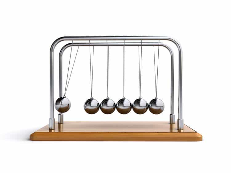 Newton's Cradle Demonstrating Newtonian Physics