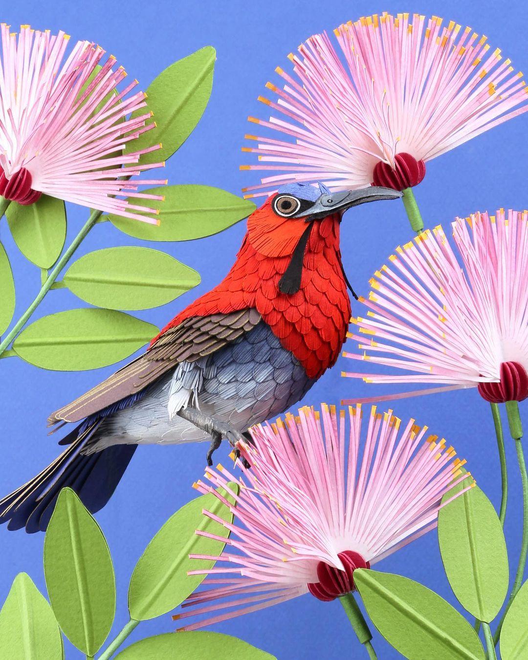 esculturas de papel de aves por Diana Beltrán Herrera