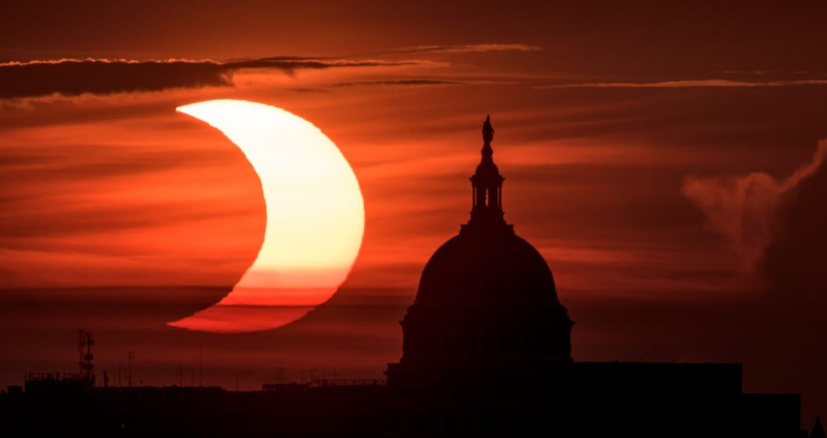 Partial Solar Eclipse Over the Capitol Building