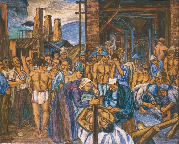 mural de pedro nel gomez, uno de los pintores colombianos