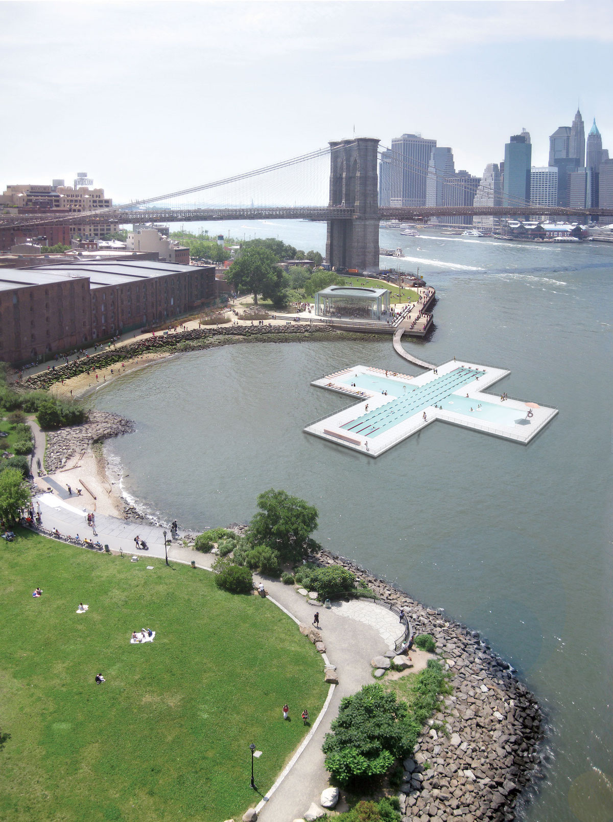 Rendering of + POOL on New York City's East River