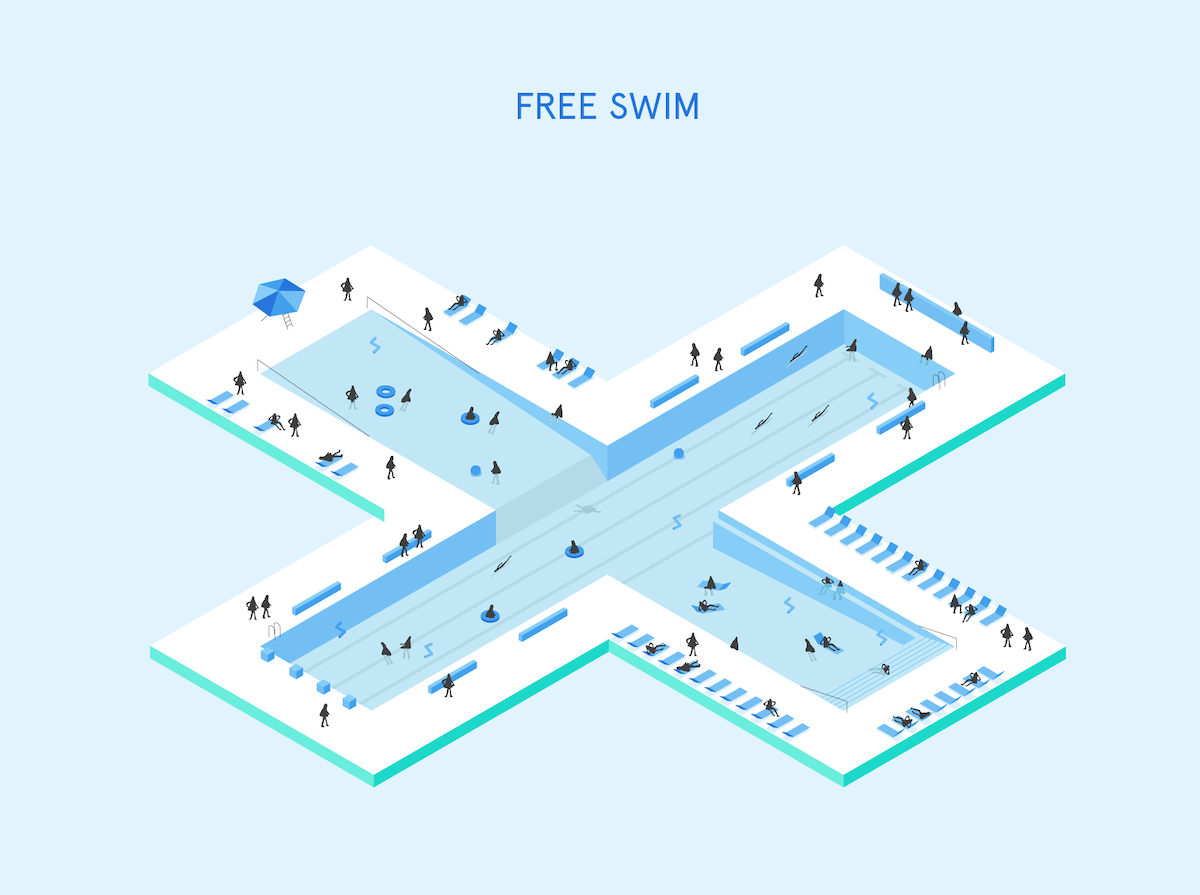 Diagram of + POOL on New York City's East River