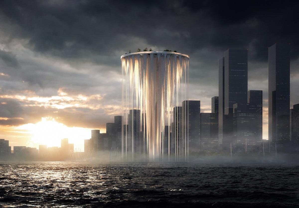 Dusk View of Sou Fujimoto's Proposal for Qianhai's New City Center Landmark