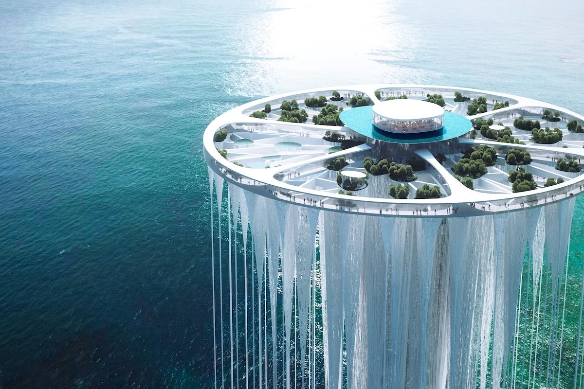 Aerial View of Sou Fujimoto's Proposal for Qianhai's New City Center Landmark