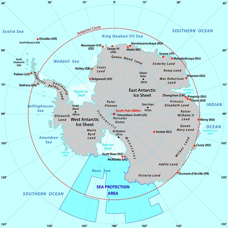 Map of the Antarctic with the new sea protection area in the Ros