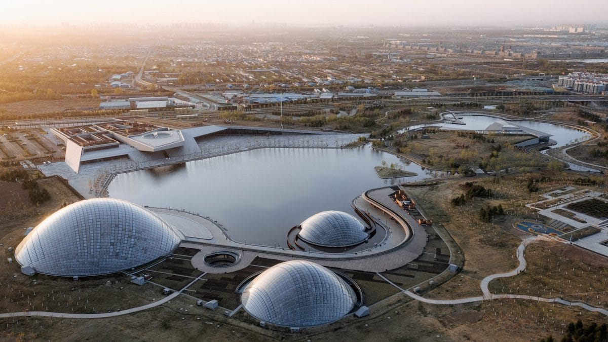 Aerial Shot of Taiyuan Botanical Garden by Delugan Meissl Associated Architects