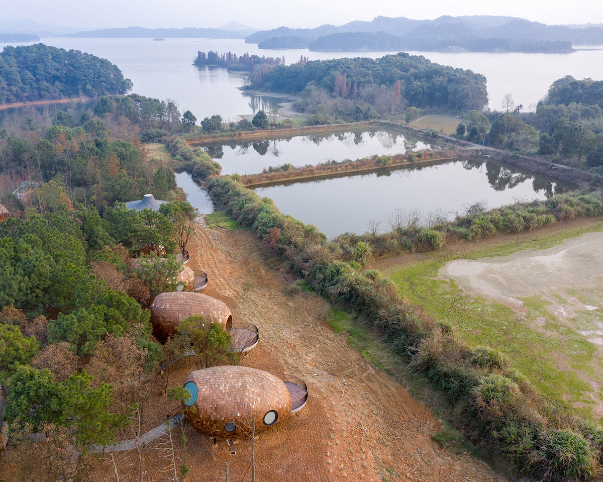 Aerial View of the Seeds Cabins in the Forests of Jiangxi