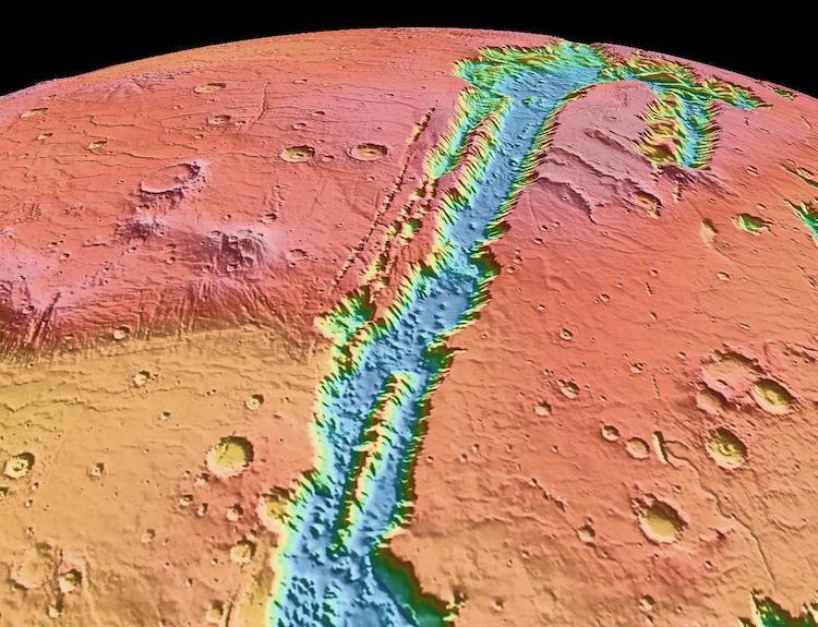 Topographic view of Valles Marineris