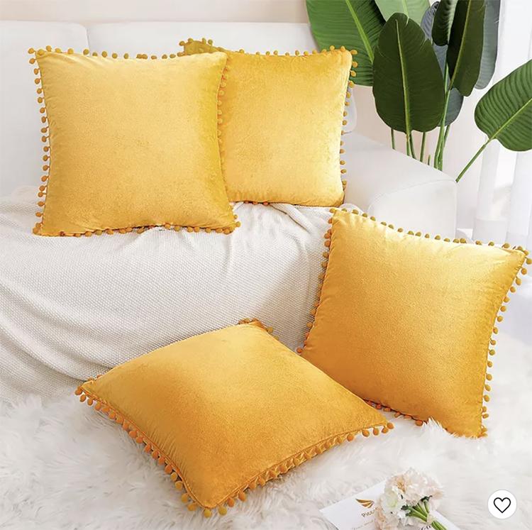Velvet Yellow 4 Piece Pom Pom Pillow Cases