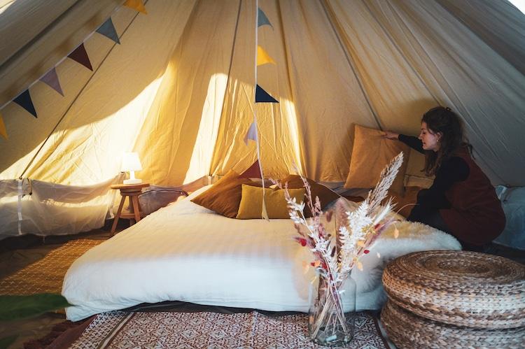 Inside the Vlotkamp Tent- Pop Up Raft Hotel