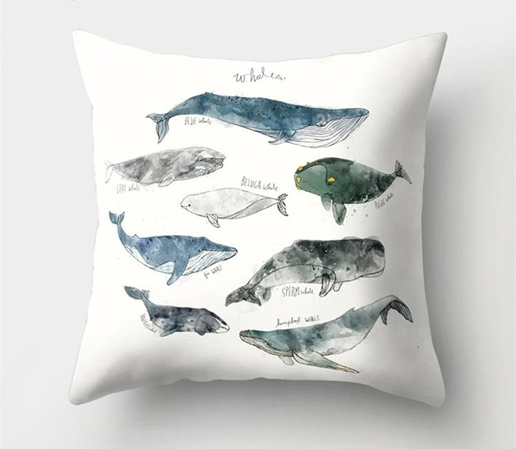 Whale Pillow Cover