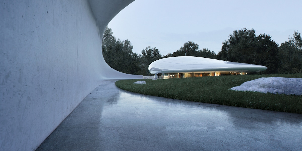Exterior View of the Aranya Cloud Center by MAD Architects