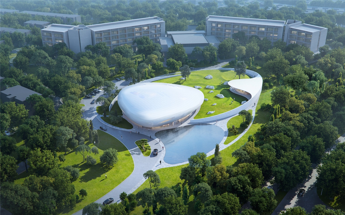 Aerial View of the Aranya Cloud Center by MAD Architects