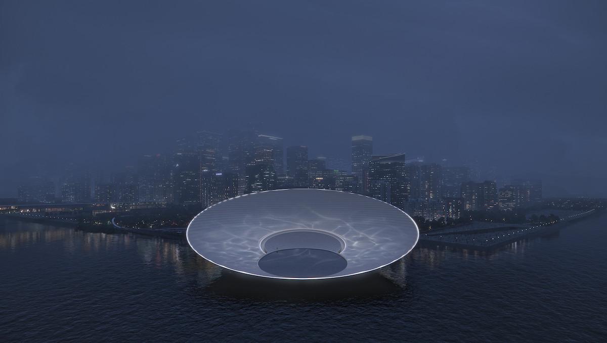 Rendering of Snøhetta's Lunar Landmark for Shenzhen's Qianhai Bay