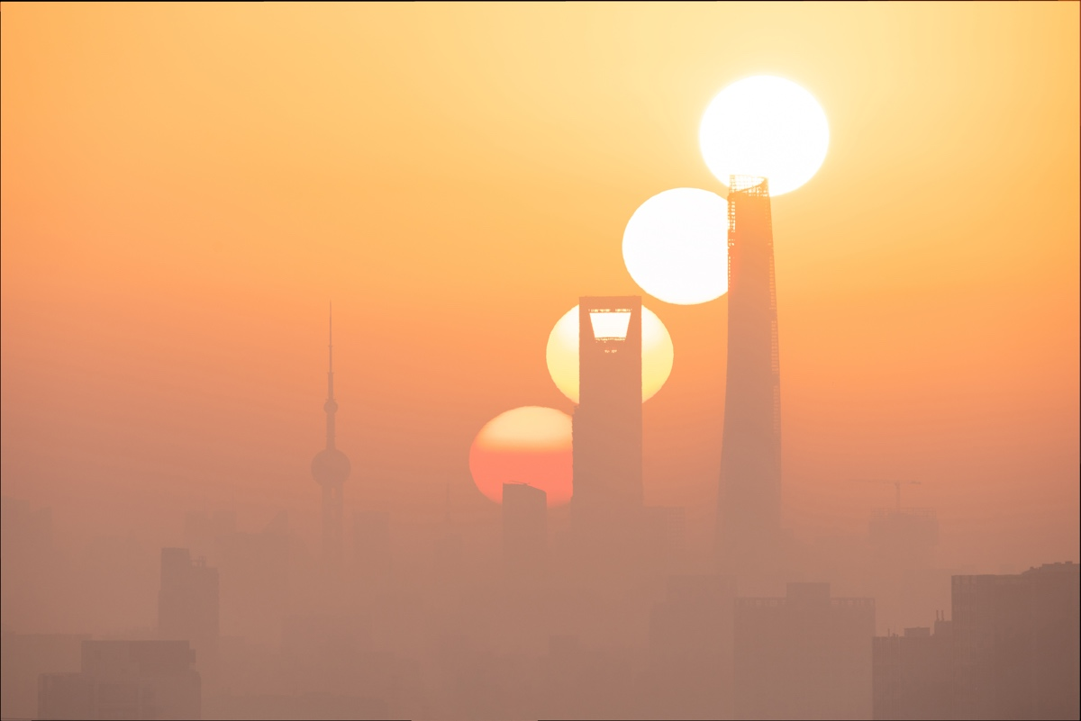 Composite Photo of the Rising Sun in Shanghai