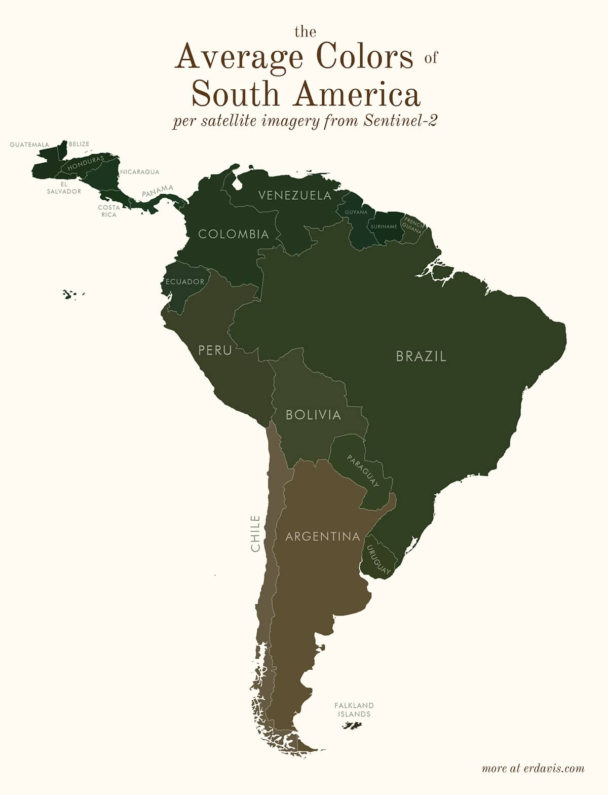 South America Average Color Map