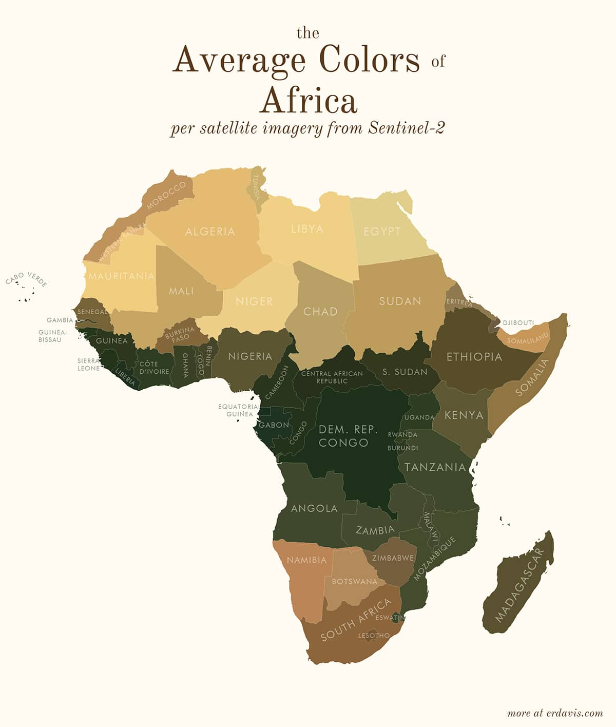 Average Colors of Africa Map