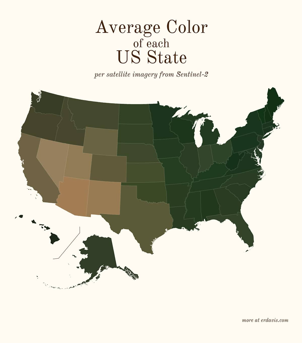 Erin Davis Average Colors of the World Satellite Maps From Data