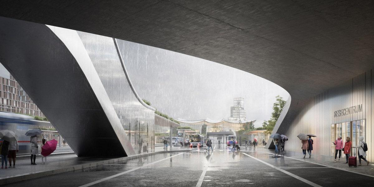 Opening view of the Västerås Travel Center by Bjarke Ingels Group