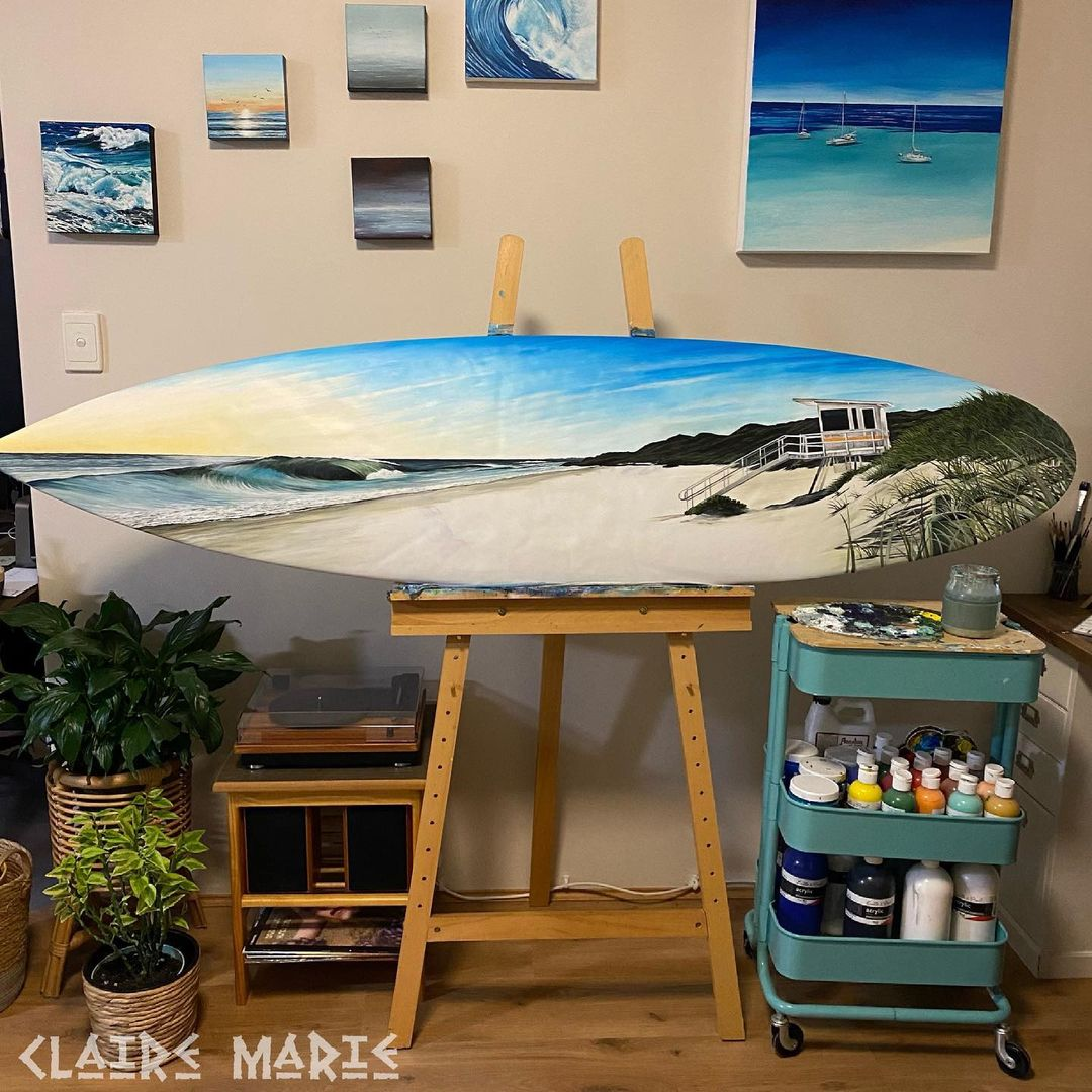 Surfboard Paintings by Claire Marie