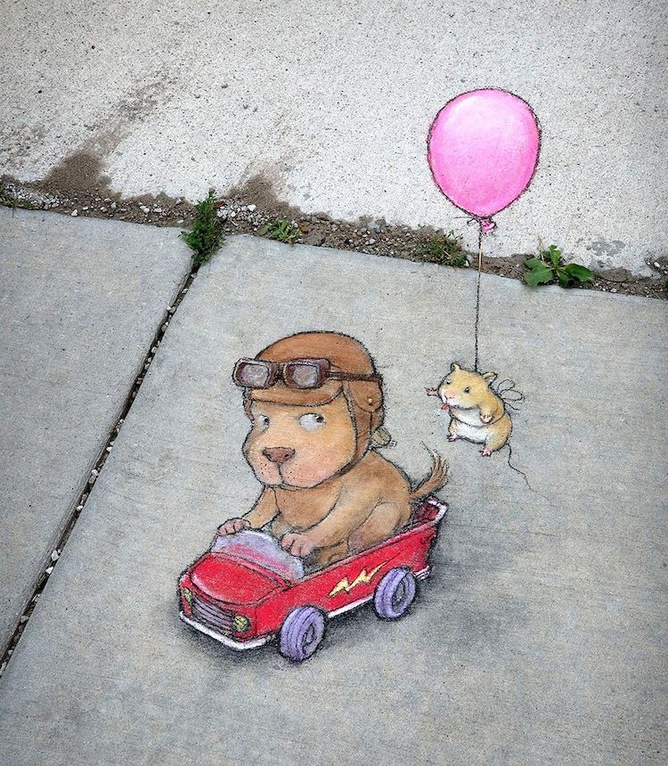 Sidewalk Chalk Art by David Zinn