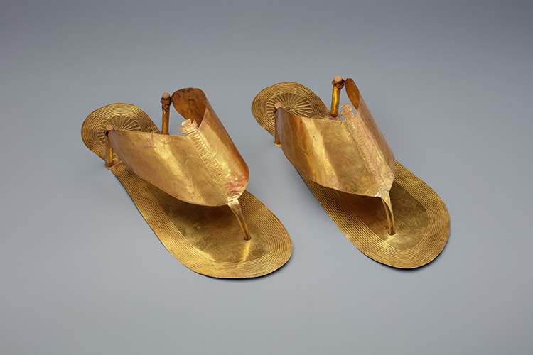 Egyptian Gold Funerary Sandals and Toe Stalls for Burial