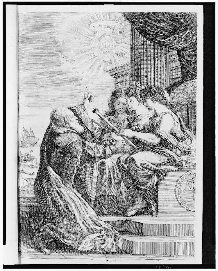 Engraving of Galileo Sharing His Telescope with Three Women