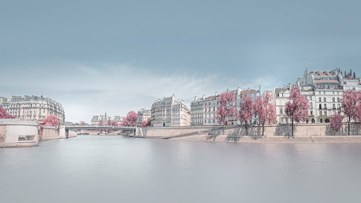 Infrared Photo of Paris and the Seine