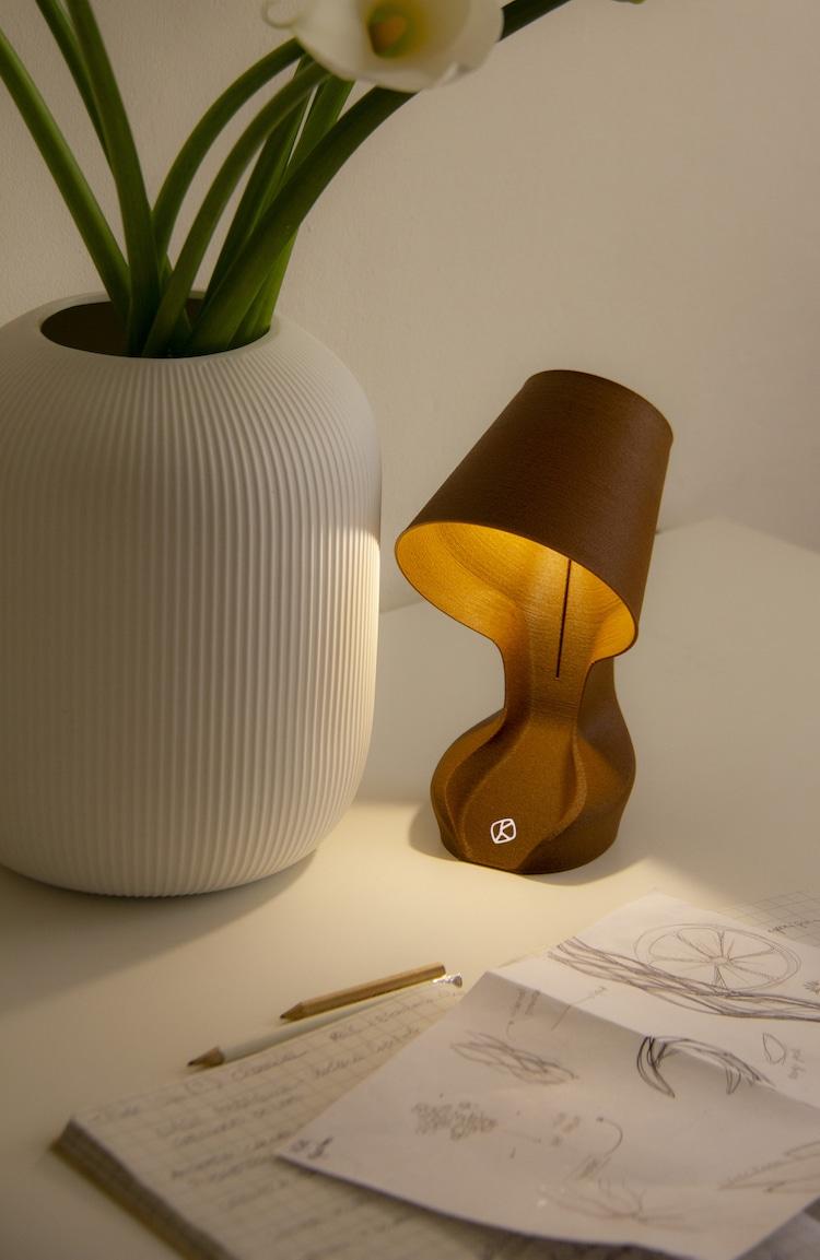 Lampe 3D en écorce d'orange par Ohmie