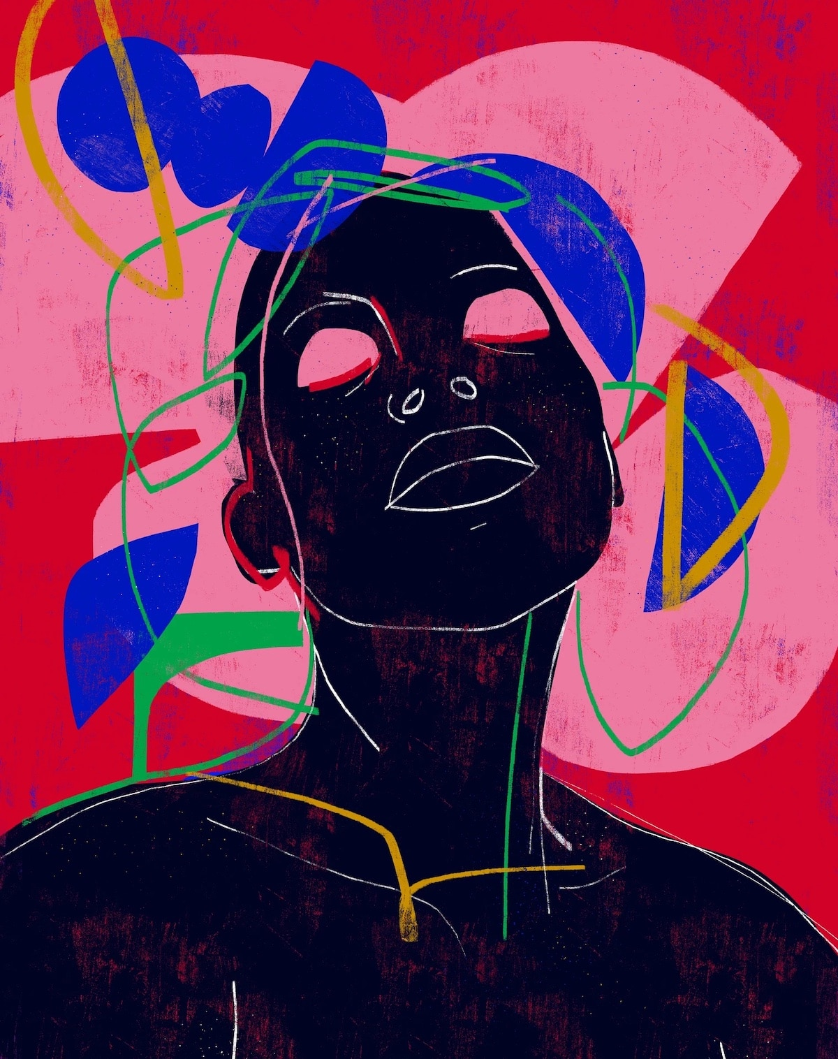 Colorful Abstract Woman Line Drawing Portraits by Luciano Cain