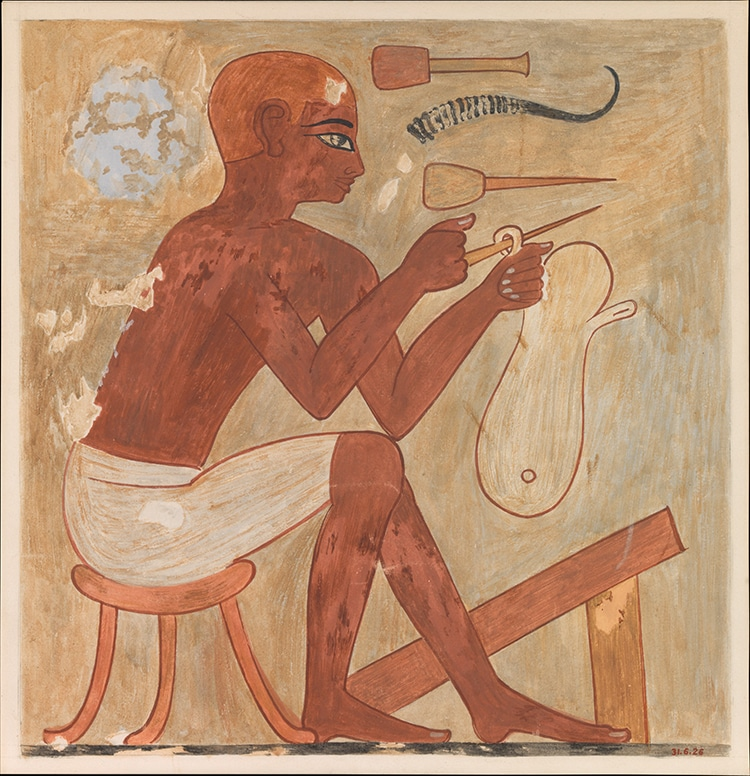 Sandal maker painting from a tomb