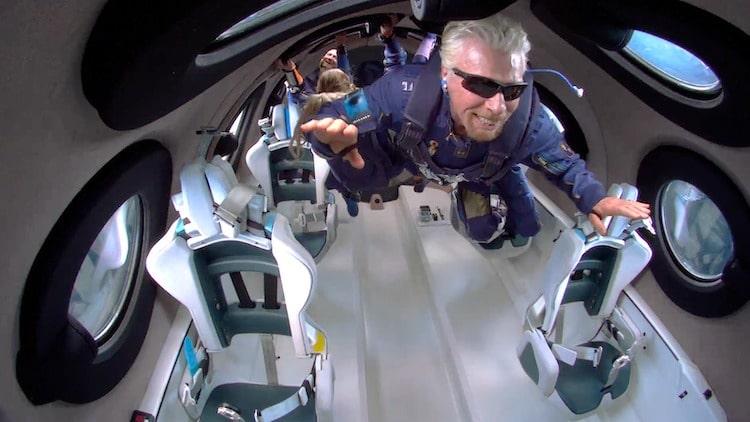 Richard Branson Floating in Microgravity