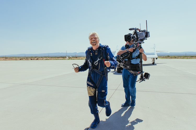 Richard Branson Celebrating First Successful Crewed Space Flight