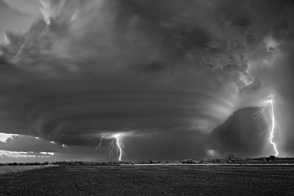 Lightning Striking Down by Mitch Dobrowner