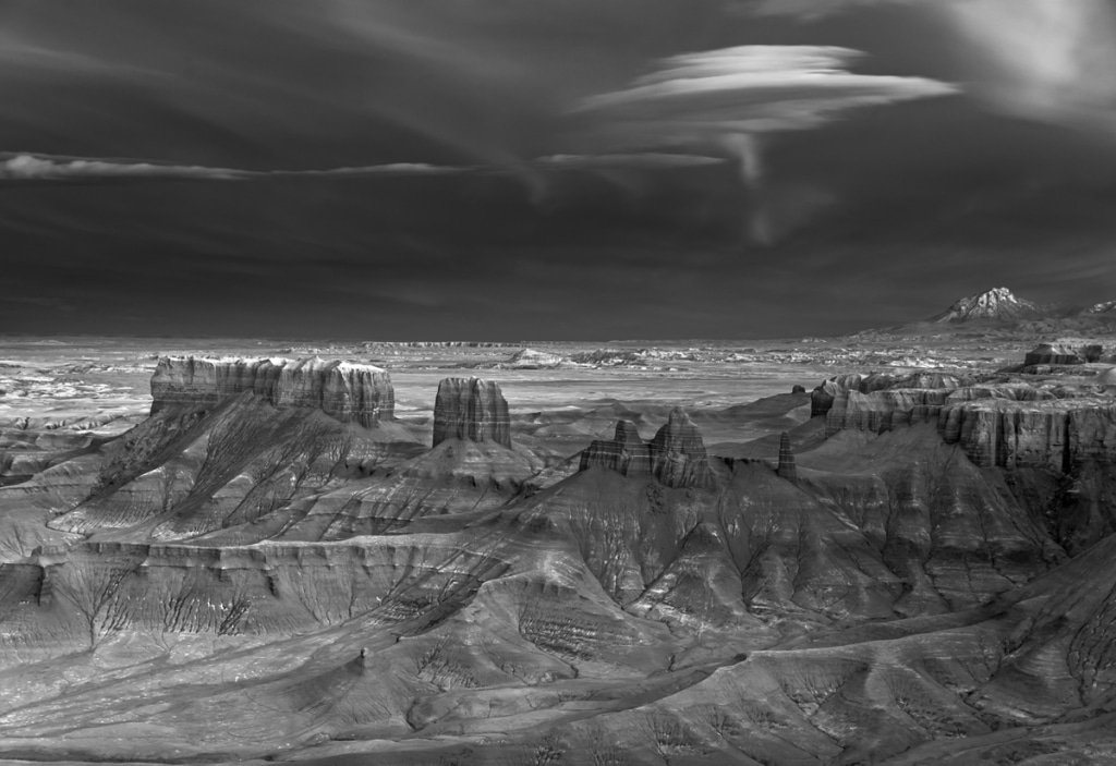 Black and White Landscape Photo of the Badlands by Mitch Dobrowner