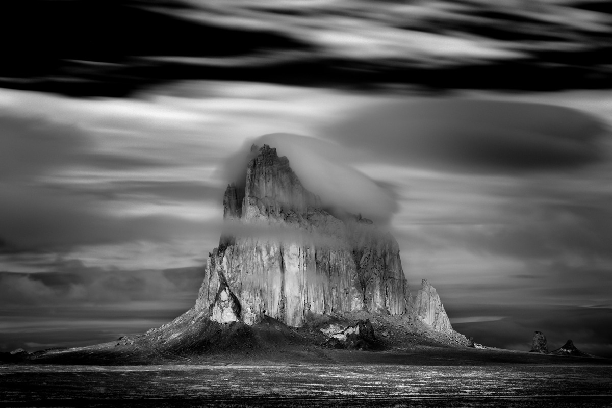 Storm Passing Over Rock Formation