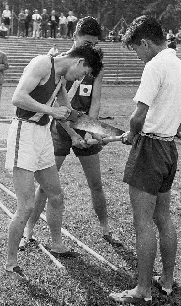 Sueo Oe and Shuhei Nishida at the 1936 Berlin Olympics