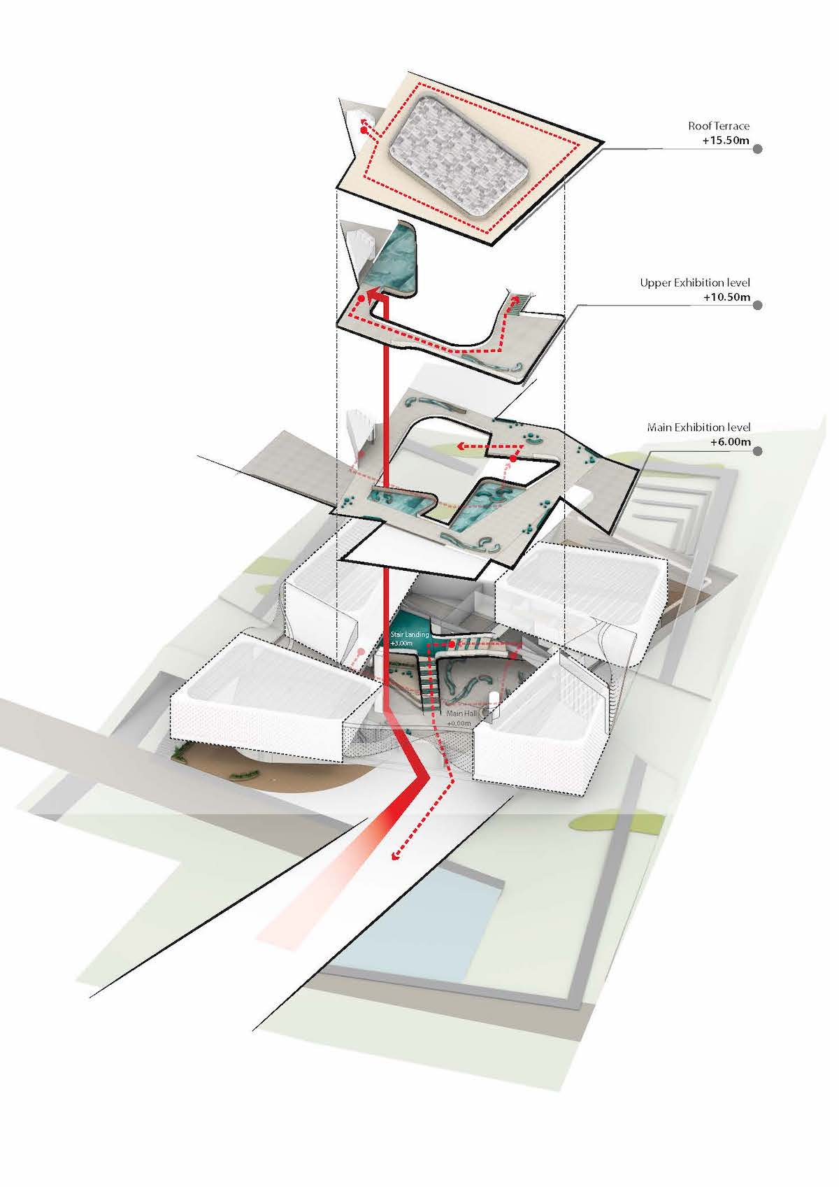 Axonometric Drawing of Chungnam Art Museum by UNStudio and DA Group