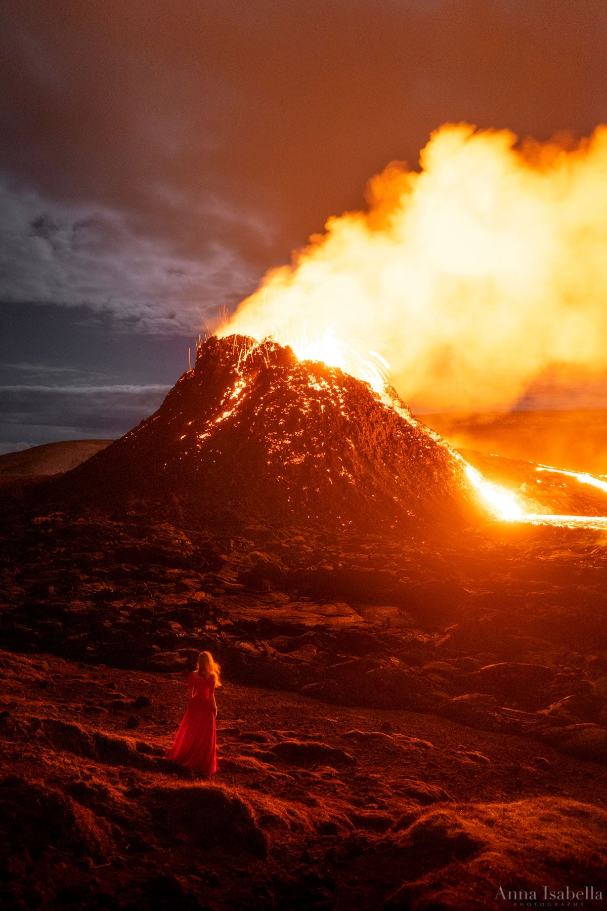 Anna Isabella Christensen Self Portrait in Front of Fagradalsfjall Volcano