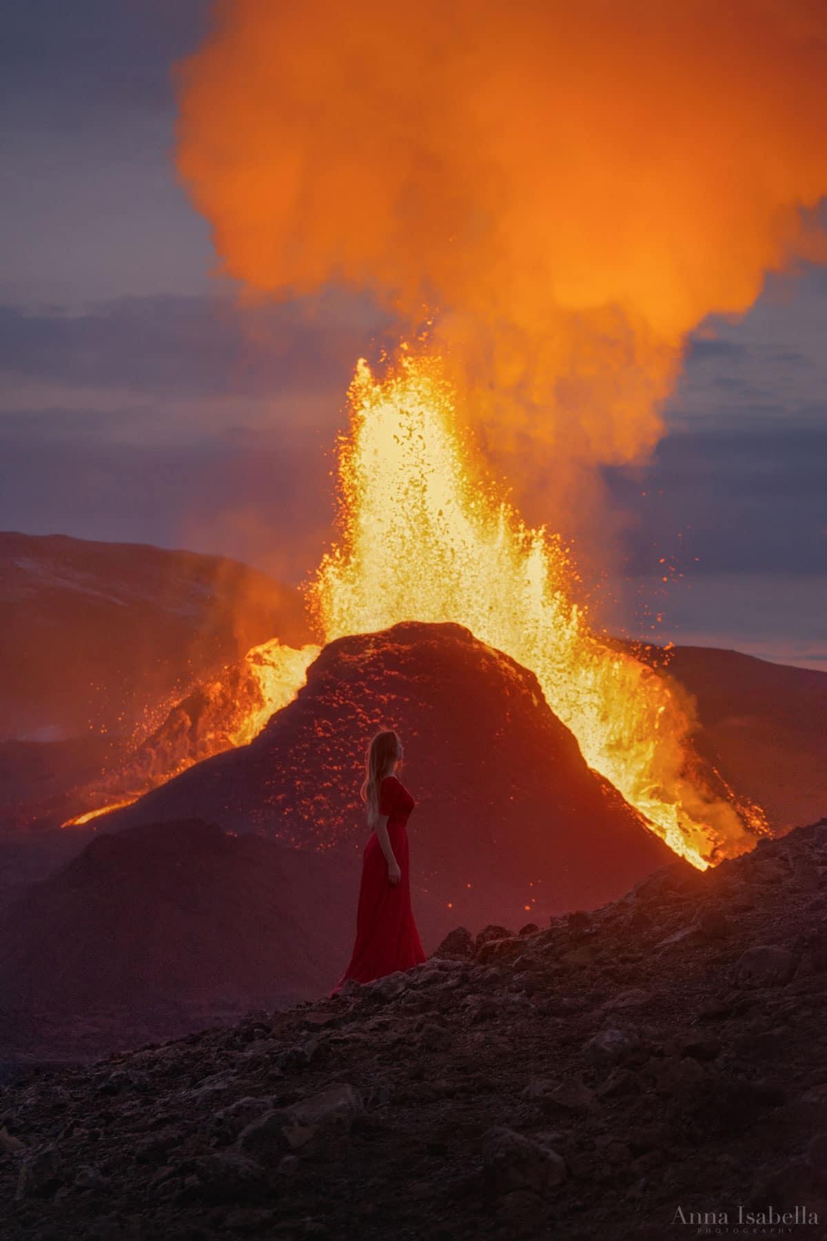 Self Portrait in Front of an Erupting Volcano