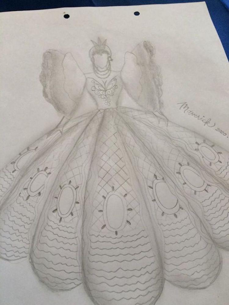 Boceto de vestido de graduación hecho a mano por Maverick Francisco Oyao