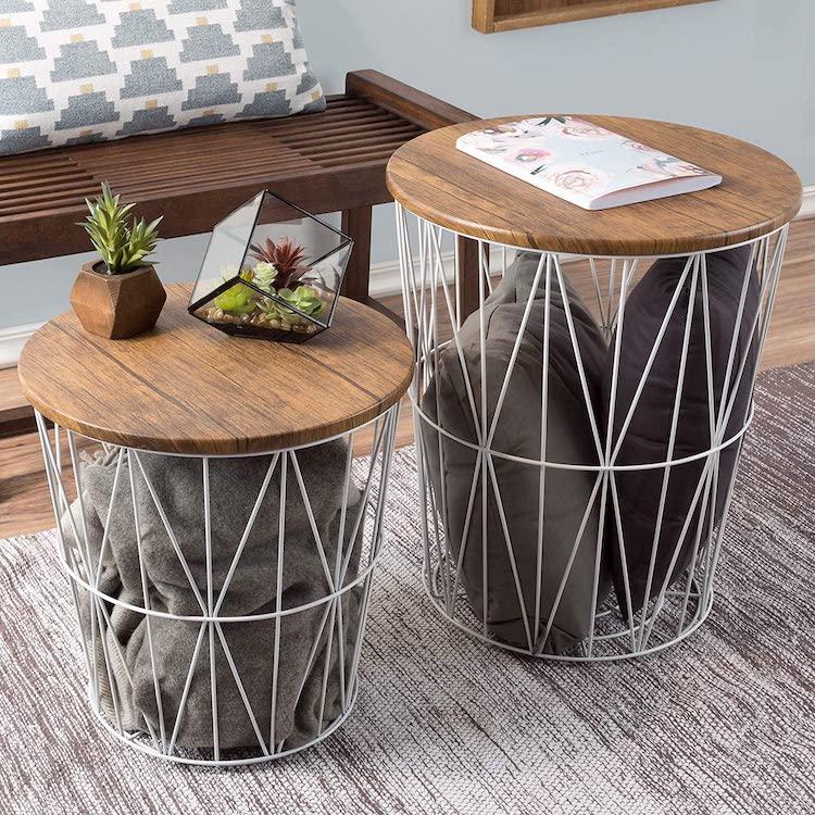 Mesa de centro o mesa auxiliar con almacenamiento de canasta