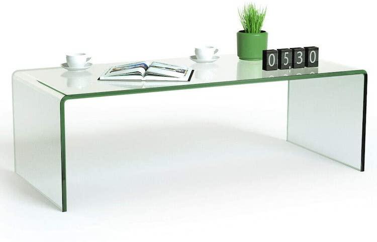 Mesa de centro de acrílico transparente con bordes redondeados