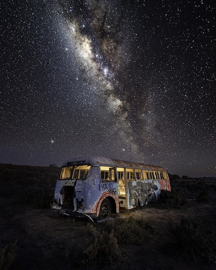 Abandoned Bus with Milky Way Overhead