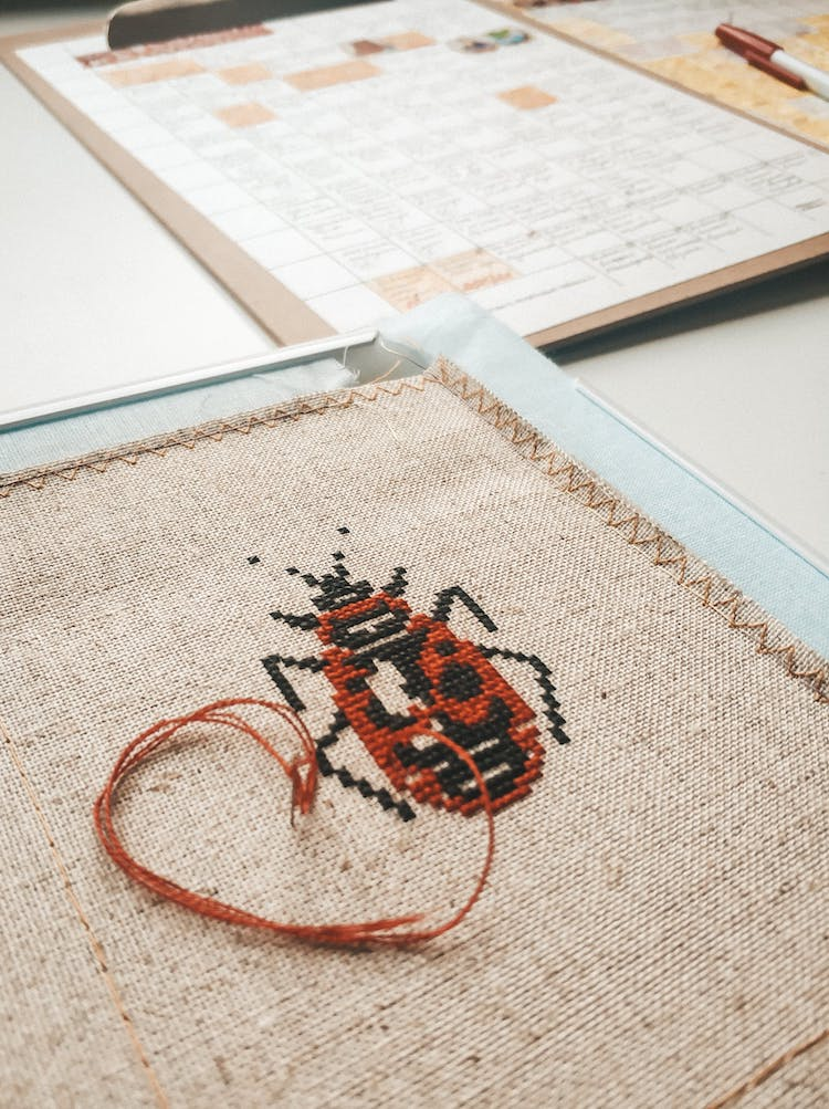 Portrait of an insect in cross stitch