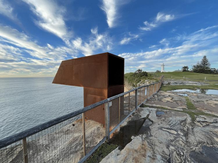 Viewfinder Concrete and Steel Sculpture by Joel Adler